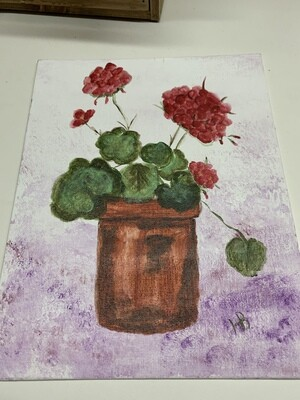 8x10 Geraniums Acrylic Painting