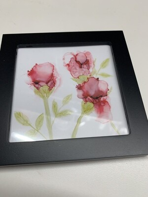 4x4 Framed Print of Alcohol Ink Roses