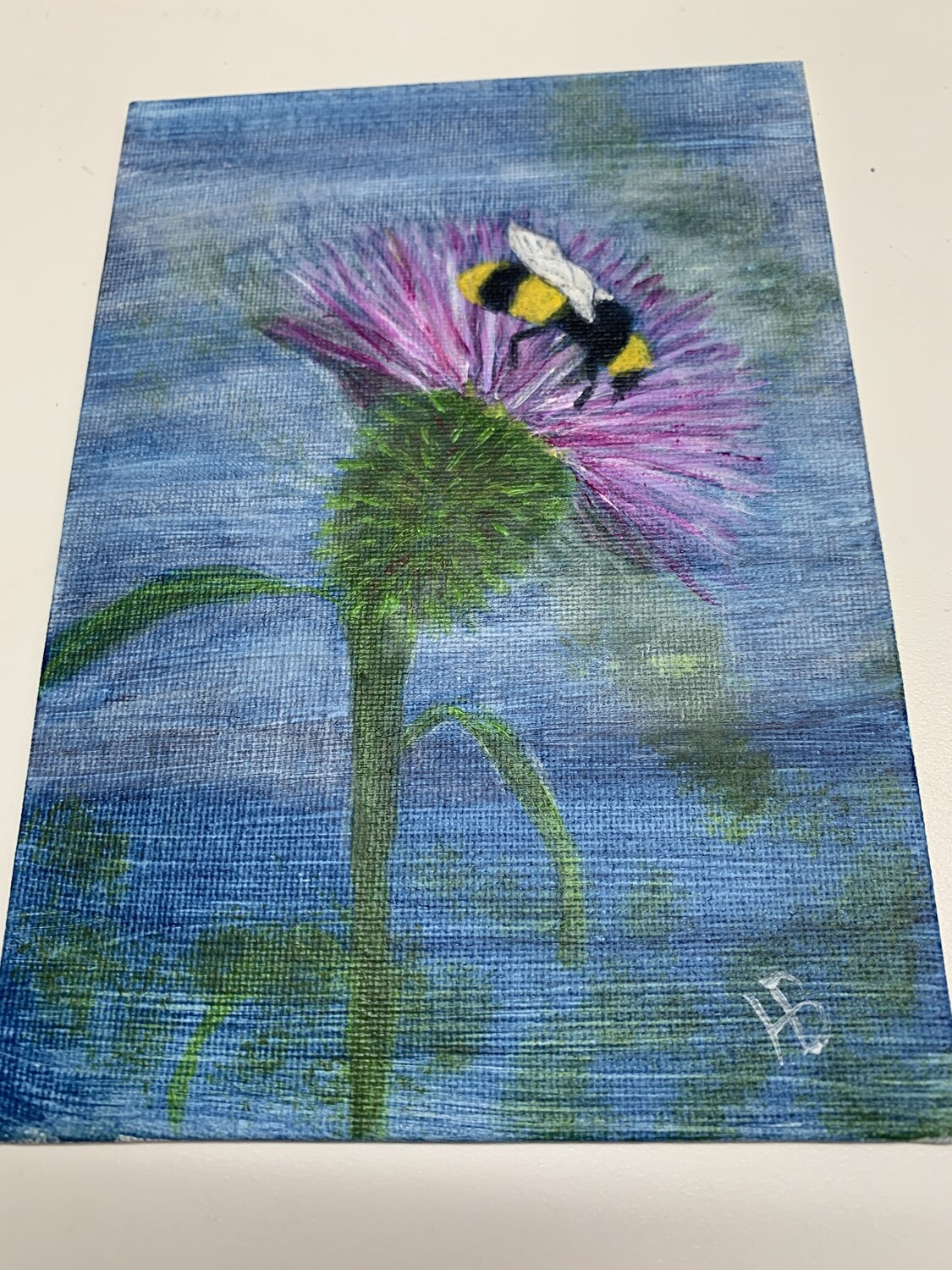 5x7 Acrylic Painting, Bee on Thistle