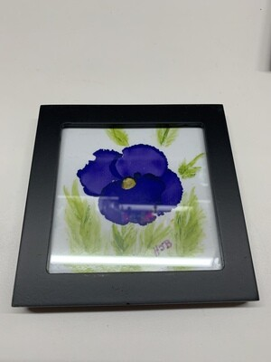 4x4 Framed Print of Alcohol Ink Pansy