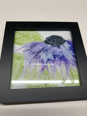 4x4 Framed Print of Alcohol Ink Purple Flower