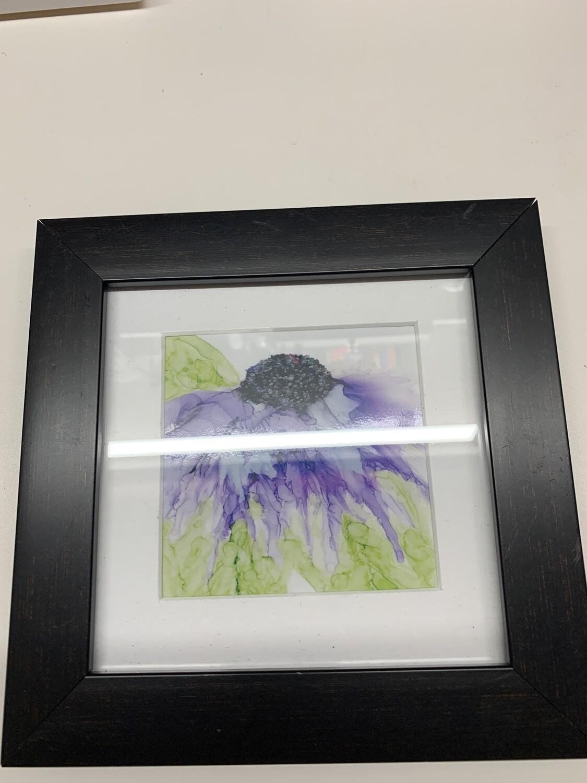 Framed Print of Alcohol Ink Purple Flower