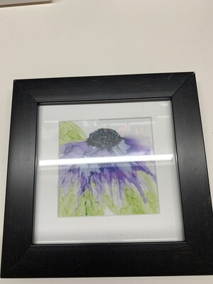 Framed Print of Alcohol Ink Purple Flower