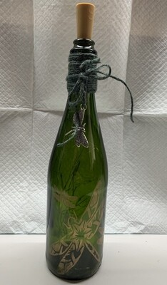 Lighted Dragonfly Etched Bottle