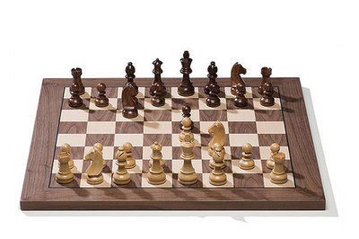 CHESS SET with walnut wood board & pieces.
