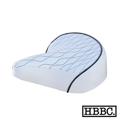 HBBC Quilted Seat White w/ Black Stitching