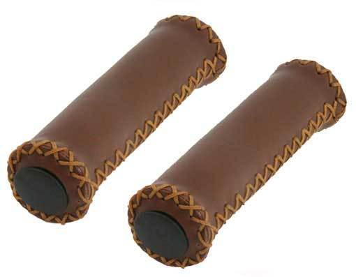 Grips; Brown Leather/Tan Stitching