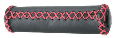 Grips; Black Leather/Red Stitching