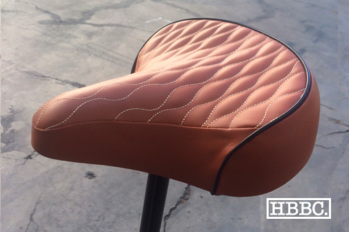 HBBC Quilted Seat Brown w/ Tan Stitching