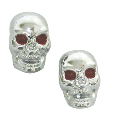 Valve Stem Caps; Trik Topz Skull, Chrome