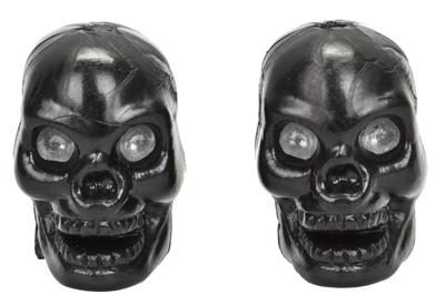 Valve Stem Caps; Trik Topz Skull, Black