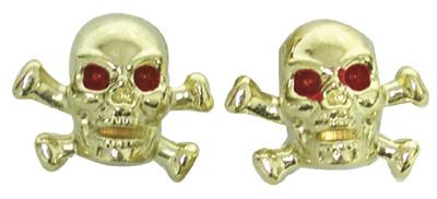 Valve Stem Caps; Trik Topz Skull & Bones, Gold