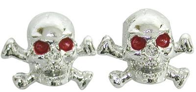 Valve Stem Caps; Trik Topz Skull & Bones, Chrome