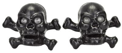 Valve Stem Caps; Trik Topz Skull & Bones, Black