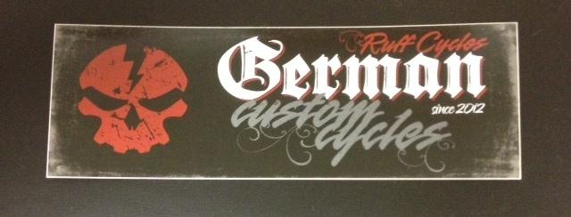 Stickers; RUFF Cycles German Custom Cycles Logo, Black