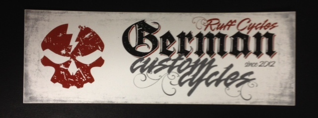 Stickers; RUFF Cycles German Custom Cycles Logo, White