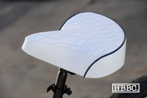 HBBC Quilted Seat White w/ Pink Stitching