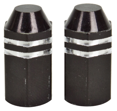 Valve Stem Caps; Trik Topz Finned, Black