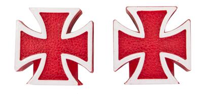 Valve Stem Caps; Trik Topz Iron Cross, Red and White