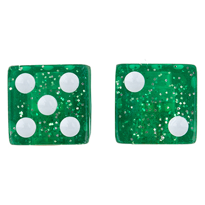 Valve Stem Caps; Trik Topz Dice, Sparkle Green