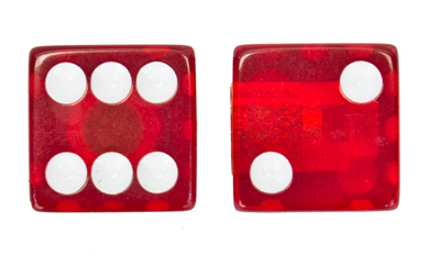 Valve Stem Caps; Trik Topz Dice, Clear Red