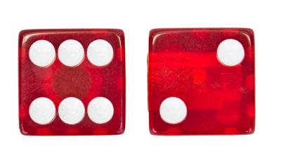 Valve Stem Caps; Trik Topz Dice, Clear Red