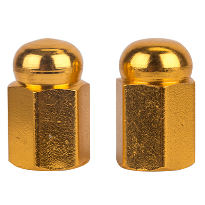 Valve Stem Caps; Trik Topz Hex Dome, Gold