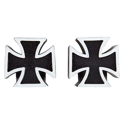 Valve Stem Caps; Trik Topz Iron Cross, Black and White