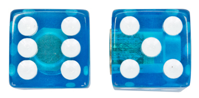 Valve Stem Caps; Trik Topz Dice, Clear Blue