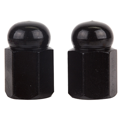 Valve Stem Caps; Trik Topz Hex Dome, Black