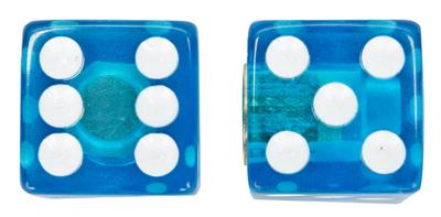 Valve Stem Caps; Trik Topz Dice, Clear Blue