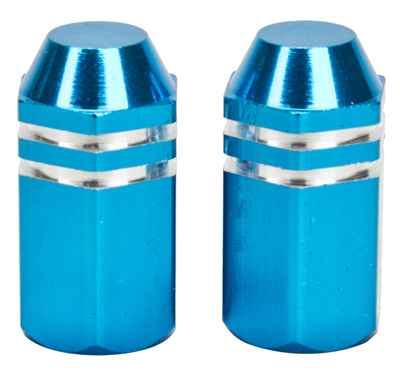 Valve Stem Caps; Trik Topz Finned, Blue