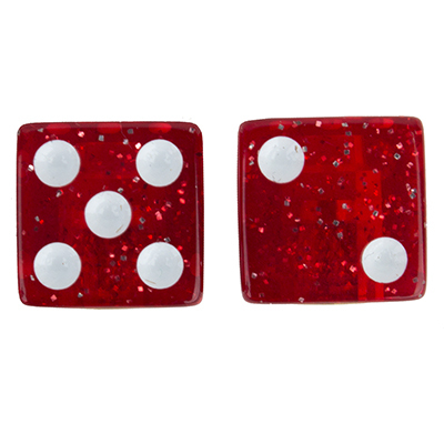 Valve Stem Caps; Trik Topz Dice, Sparkle Red