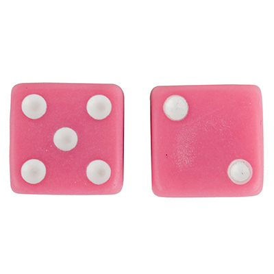 Valve Stem Caps; Trik Topz Dice, Pink