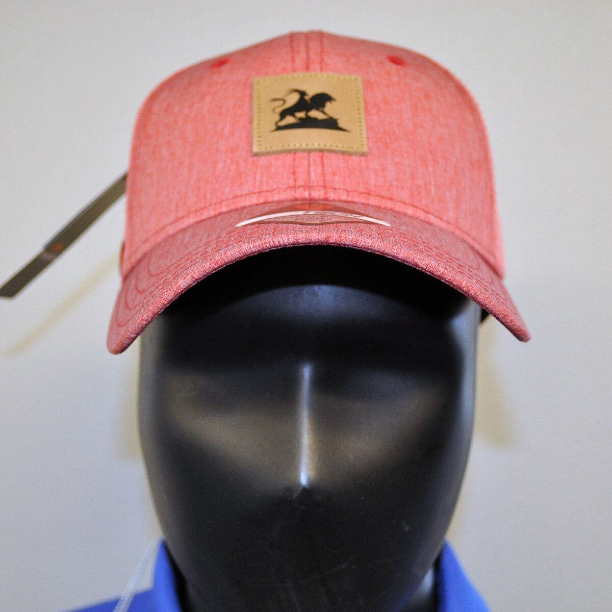 Men's Golf Hat - OSFA Red Heather/Leather Patch
