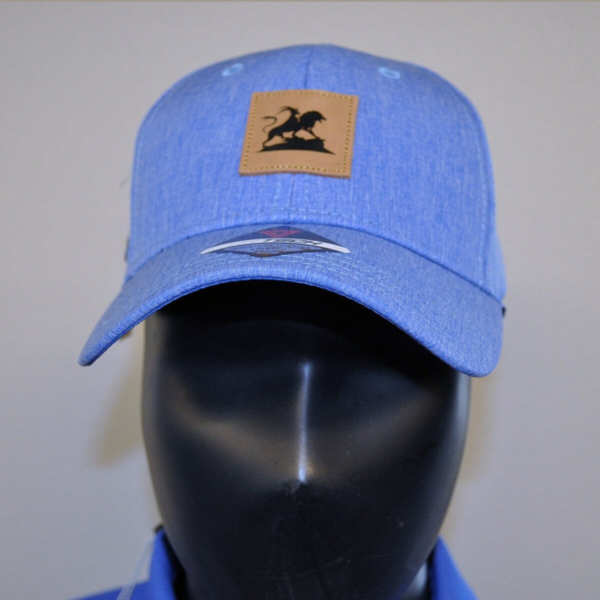 Men's Golf Hat - OSFA Heather Blue/Leather Patch