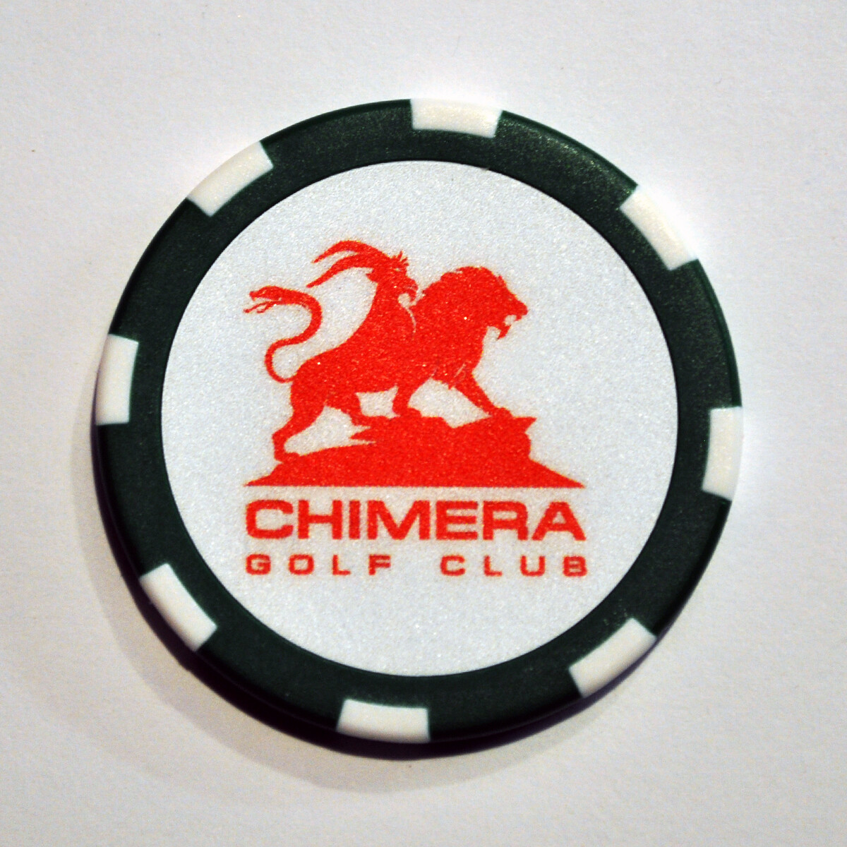Poker Chip - Chimera - Dark Green/White