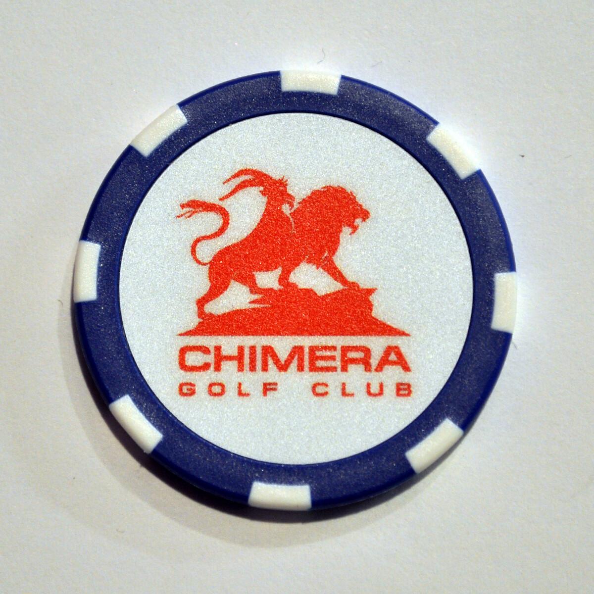Poker Chip - Chimera - Blue/White