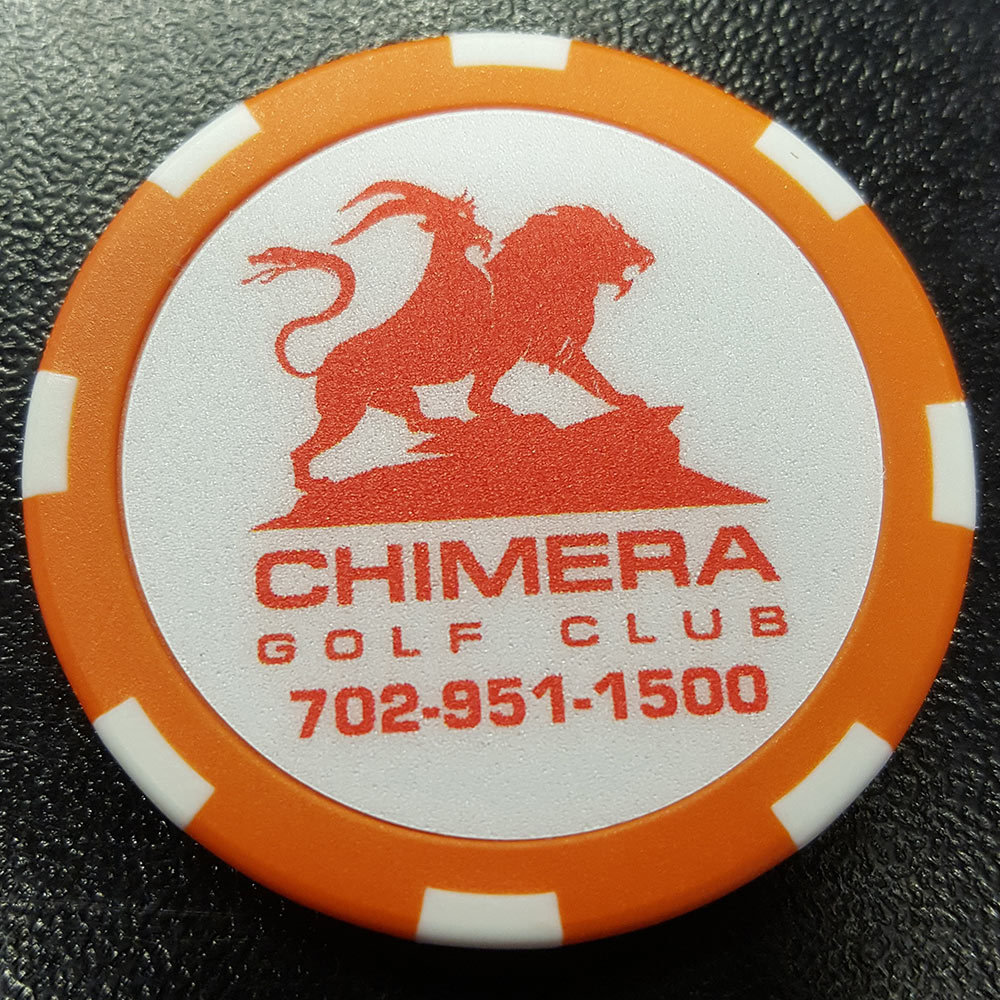 Chimera Poker Chip Golf Ball Marker​ - Orange and White