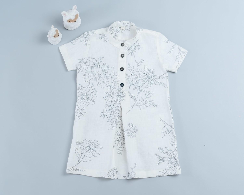 短袖岔裙洋裝-現貨 90cm