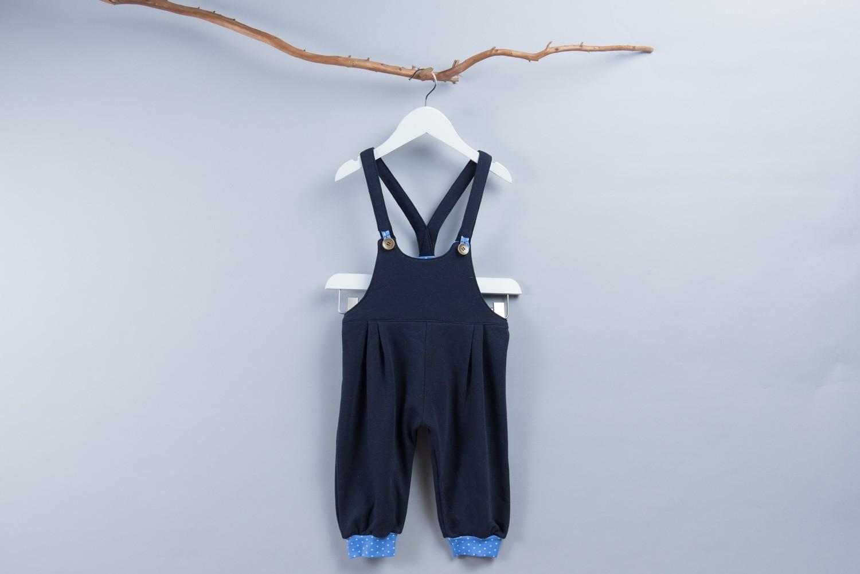 寶藍針織吊帶長褲-訂製