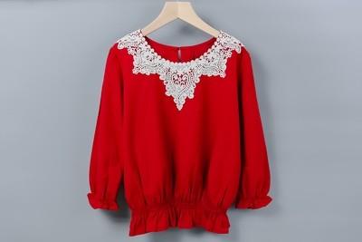 蕾絲花領上衣-紅色棉麻