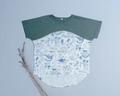 短袖上衣-訂製 手繪恐龍vs輕薄2