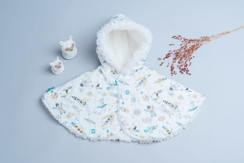 雙面毛料斗篷-訂製 自然11vs雪花毛
