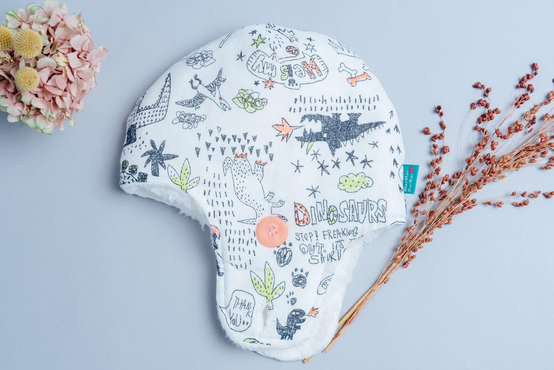 遮耳飛行帽(毛料)-訂製 自然5vs雪花毛