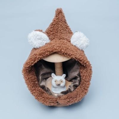 脖圍精靈帽-訂製 咖啡棕