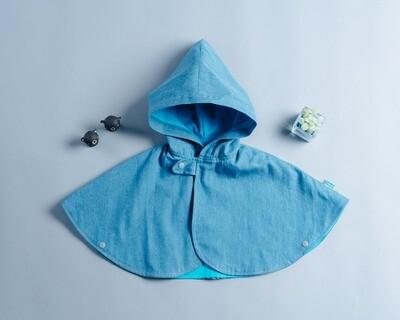 雙面雨衣斗篷-訂製 淺色牛仔