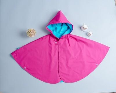 雙面雨衣斗篷-訂製 愛紗桃紅