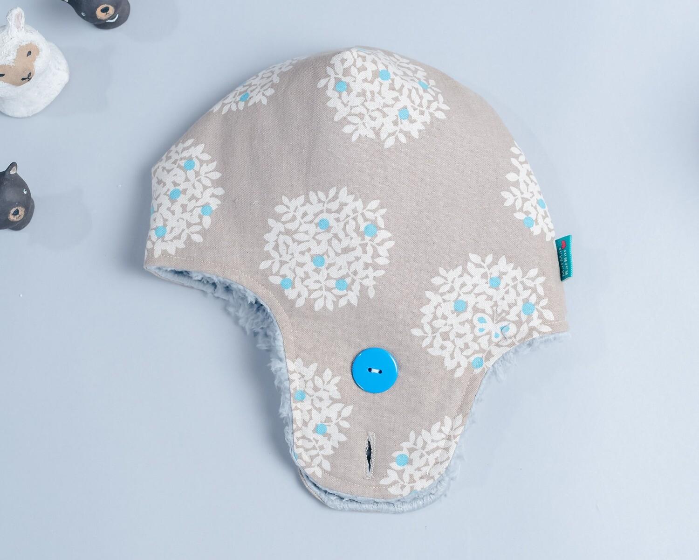 遮耳飛行帽-訂製 花26-厚