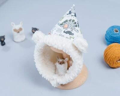 脖圍精靈帽-訂製 自然5-紗vs雪花毛